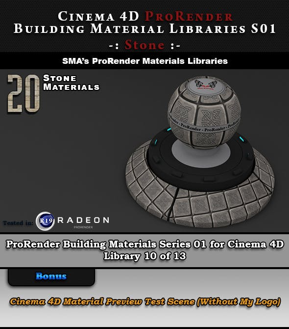 20 x ProRender PBR Stone Materials for Cinema 4D - 3DOcean Item for Sale