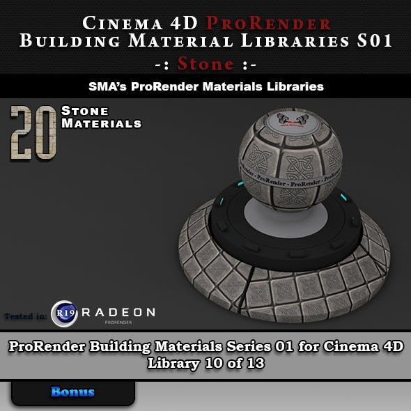 20 x ProRender PBR Stone Materials for Cinema 4D