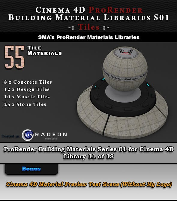 55 x ProRender PBR Tile Materials for Cinema 4D - 3DOcean Item for Sale
