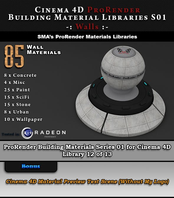 85 x ProRender PBR Wall Materials for Cinema 4D by