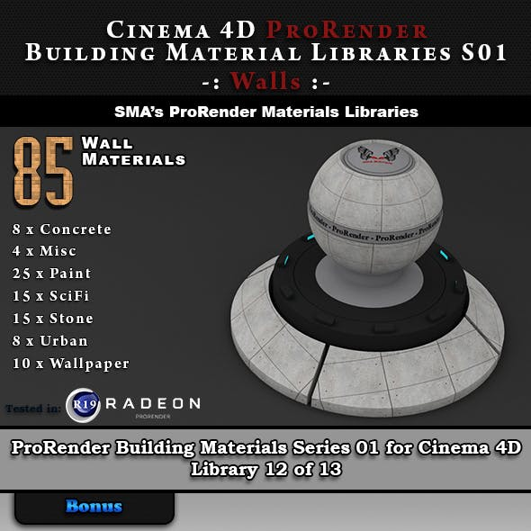 85 x ProRender PBR Wall Materials for Cinema 4D