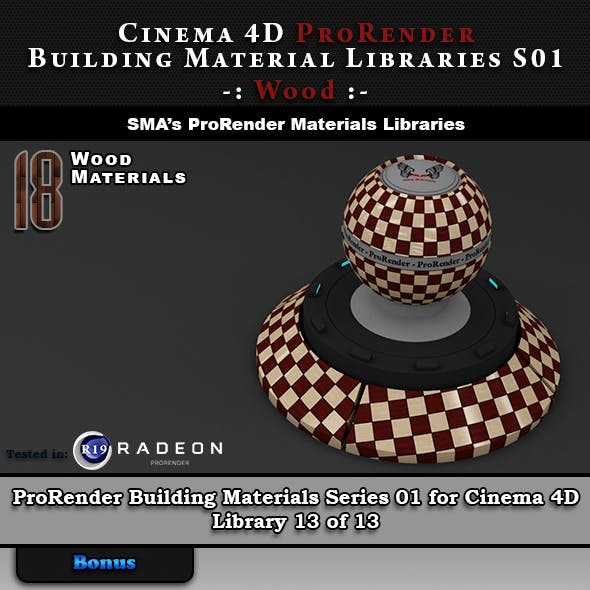 18 x ProRender PBR Wood Materials for Cinema 4D