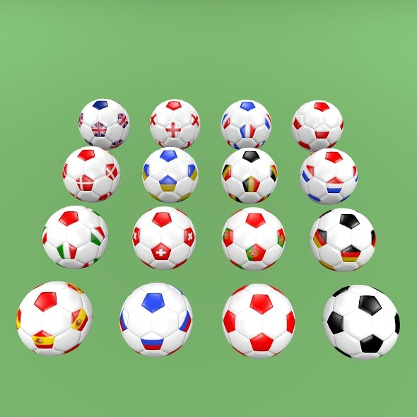 Football balls (flags of Europe) - 3DOcean Item for Sale