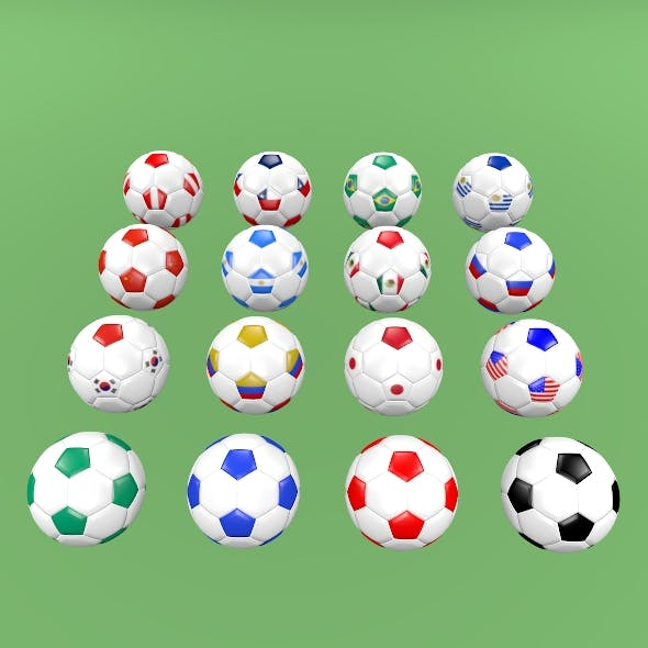 Football balls (flags of the world except Europe)