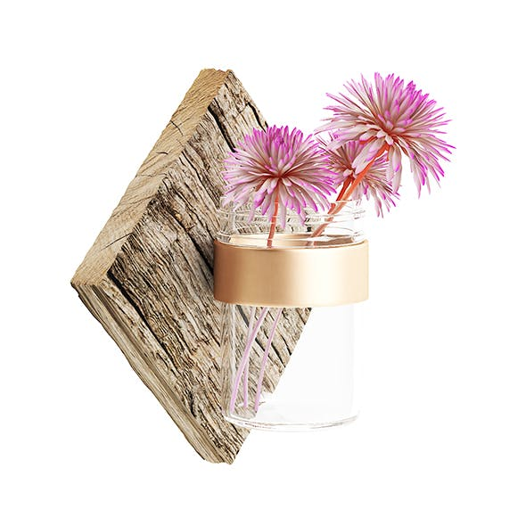 Wall Hanging Flask with Flower 3D Model - 3DOcean Item for Sale