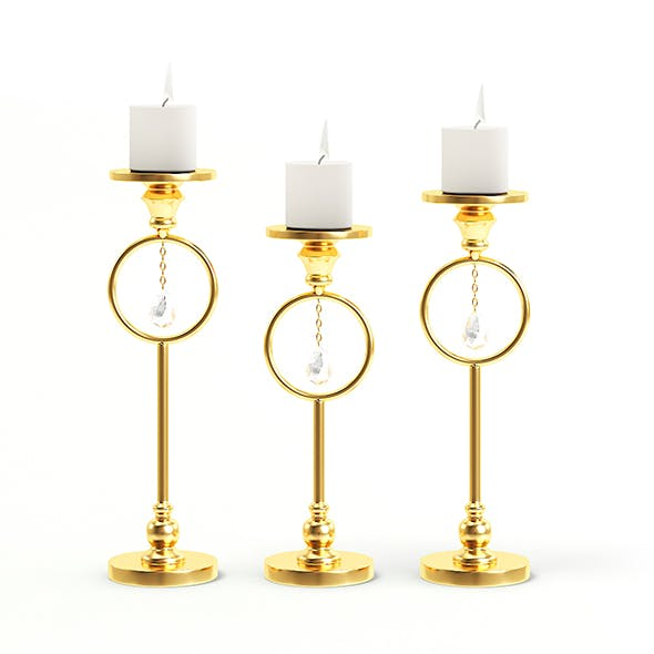 Golden Candlesticks 3D Model - 3DOcean Item for Sale