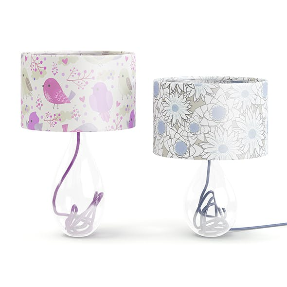 Two Glass Table Lamps 3D Model