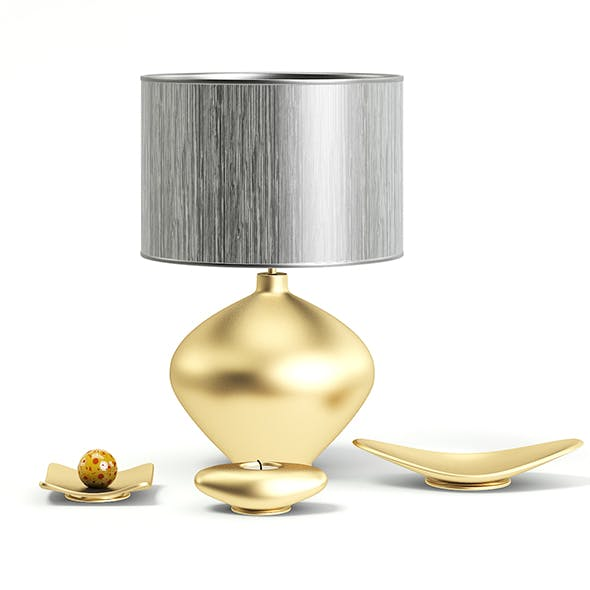 Golden Lamp with Decorations 3D Model - 3DOcean Item for Sale