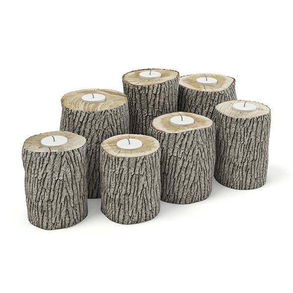 Wood Logs Candlesticks 3D Model - 3DOcean Item for Sale