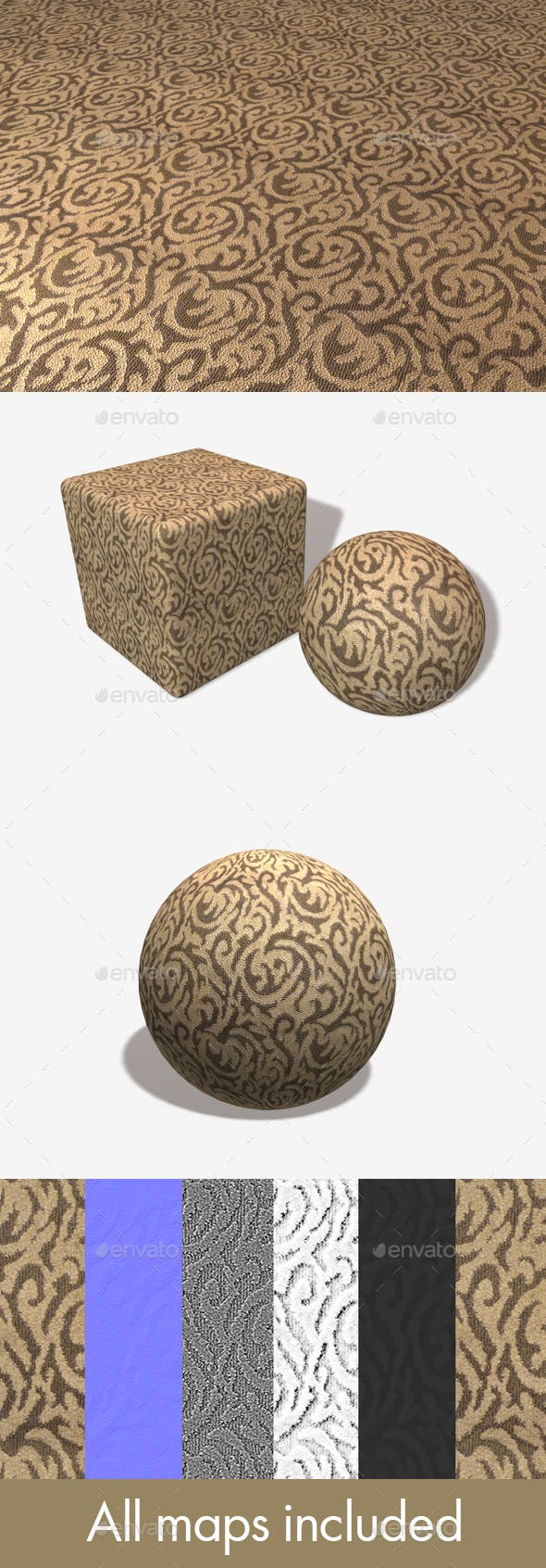 Brown Curly Carpet Seamless Texture - 3DOcean Item for Sale