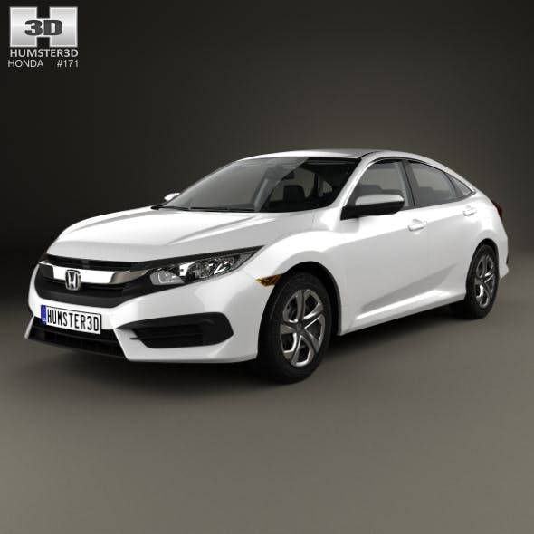 Honda Civic LX with HQ interior 2016 - 3DOcean Item for Sale