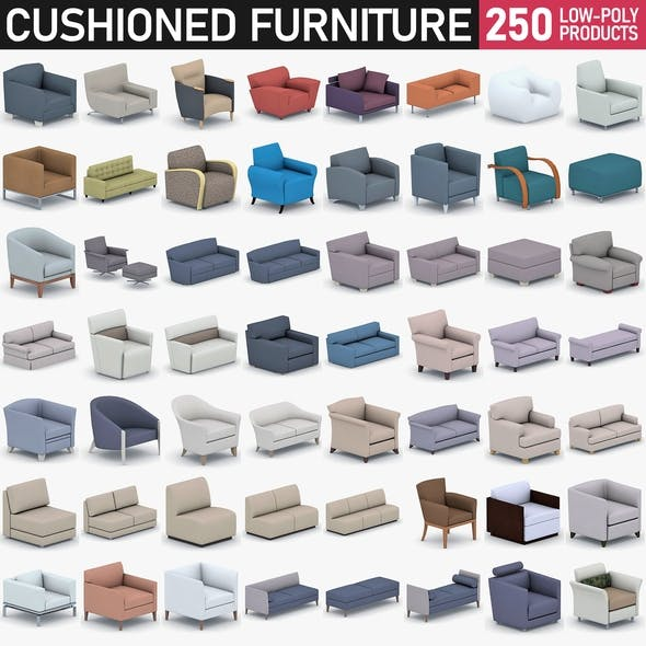 Cushioned Furniture Collection - 250 Products - 3DOcean Item for Sale