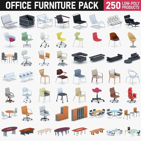 Office Furniture Full Set - 250 Products