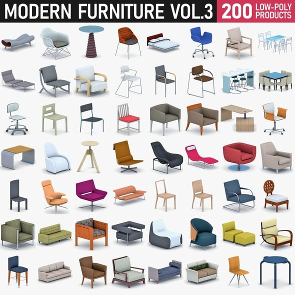 Modern Furniture Vol 3 - 200 Products - 3DOcean Item for Sale