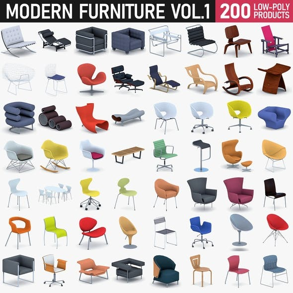 Modern Furniture Collection Vol 1 - 200 Products - 3DOcean Item for Sale