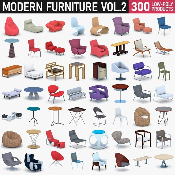 Modern Furniture Vol 2 - 300 Products - 3DOcean Item for Sale