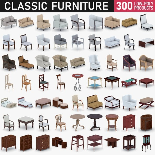 Classic Furniture Full Set - 300 Products - 3DOcean Item for Sale