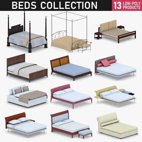 Beds Collection - 13 Products - 3DOcean Item for Sale