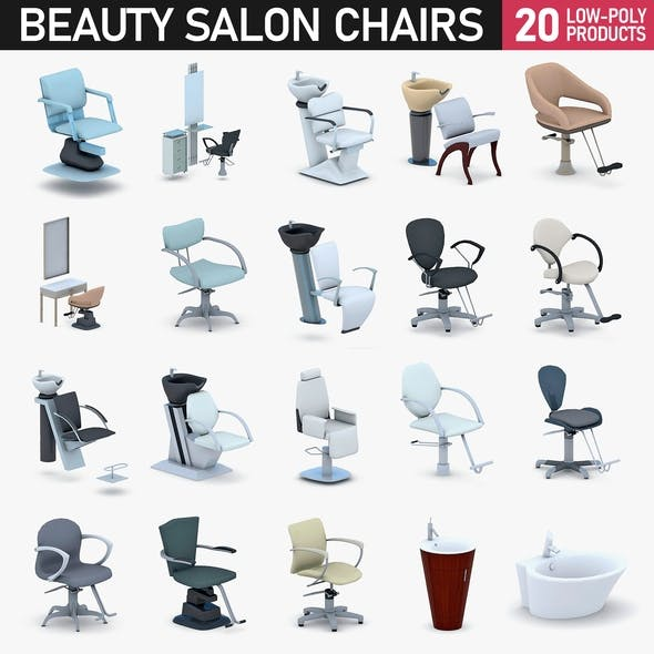 Beauty Salon Chairs Collection - 3DOcean Item for Sale