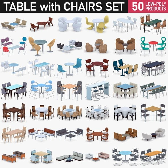 Table with Chairs Collection - 50 Products - 3DOcean Item for Sale