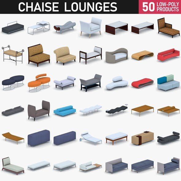 Chaise Lounge Chairs Collection - 50 Products - 3DOcean Item for Sale
