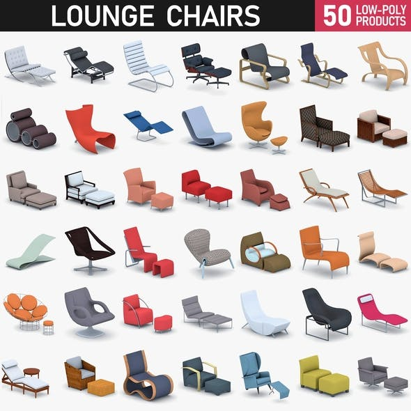 Lounge Chairs Collection - 50 Products - 3DOcean Item for Sale