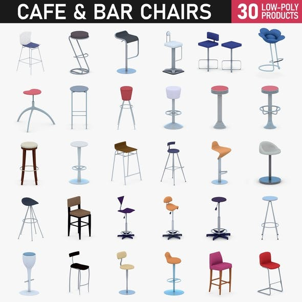 Cafe and Bar Chairs - 50 Products - 3DOcean Item for Sale