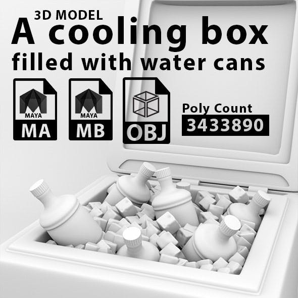 A Cooling Box Flled with Water Cans