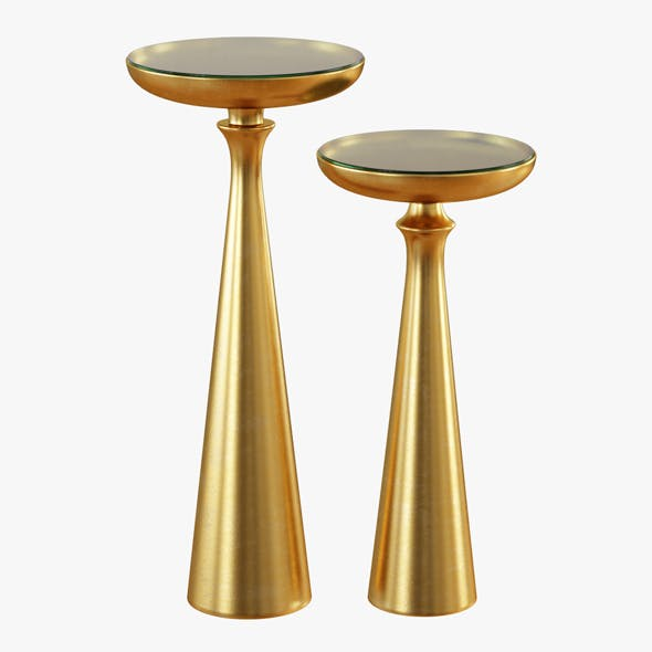Tapered Round Brass Side Table Tall or Short