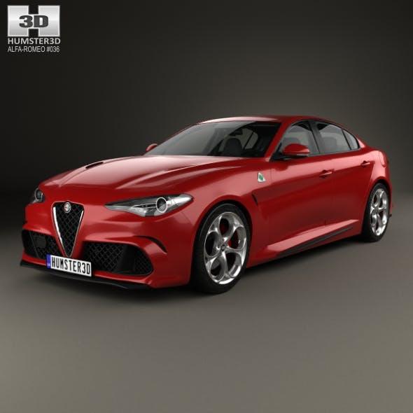 Alfa Romeo Giulia Quadrifoglio with HQ interior 2016 - 3DOcean Item for Sale