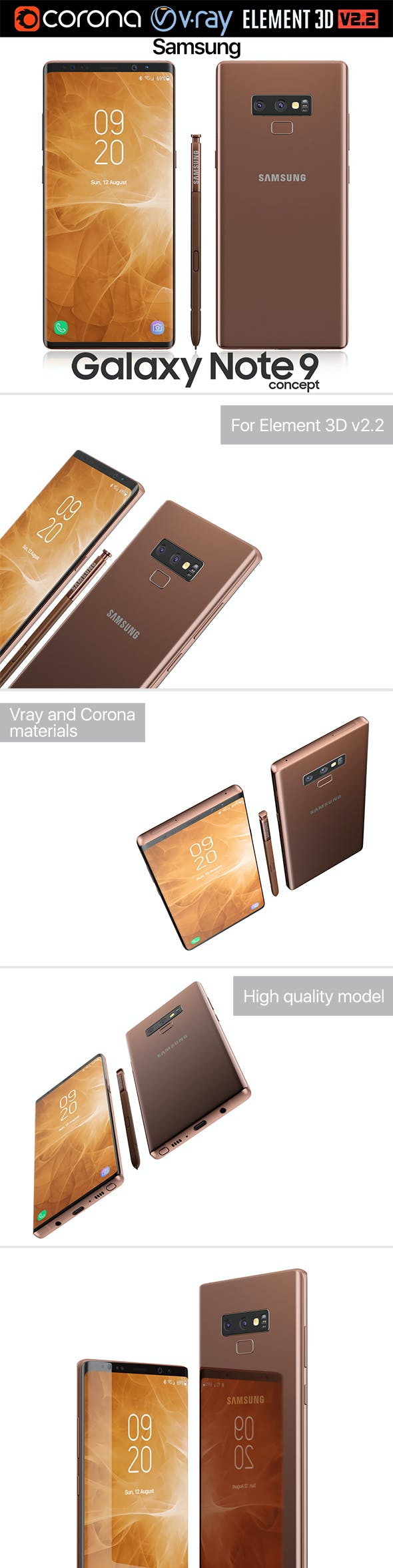 Samsung Galaxy Note 9 Brown - 3DOcean Item for Sale