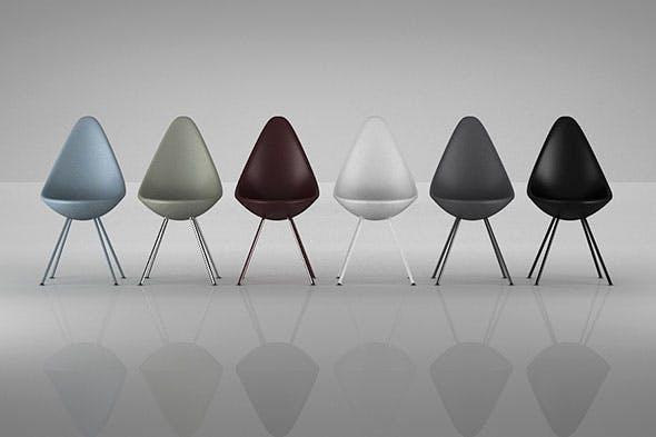 6 Drop Chair Plastic by Arne Jacobsen - 3DOcean Item for Sale