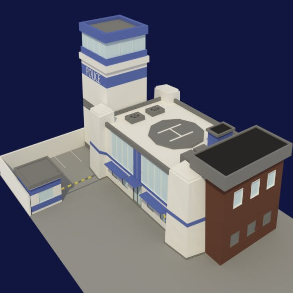 Low Poly Police Station - 3DOcean Item for Sale