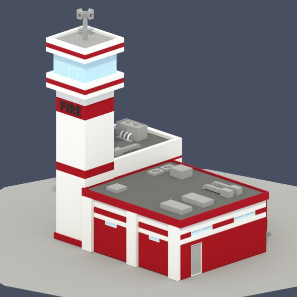 Low Poly Fire Department