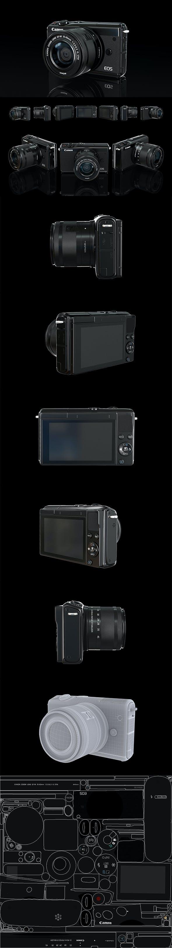 Canon eos m100 3D model - 3DOcean Item for Sale