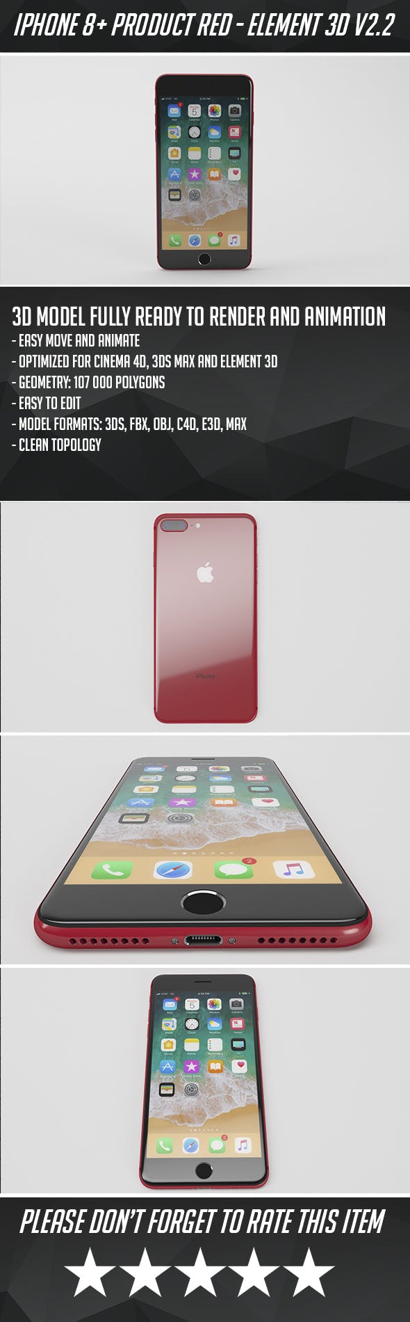 iPhone 8 Plus Product Red - Element 3D - 3DOcean Item for Sale