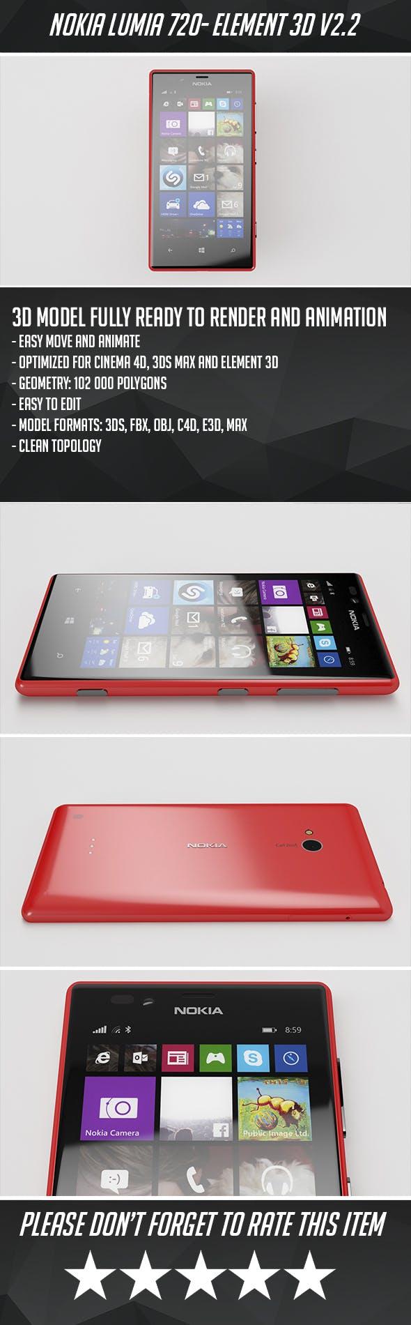 Nokia Lumia 720 - Element 3D - 3DOcean Item for Sale