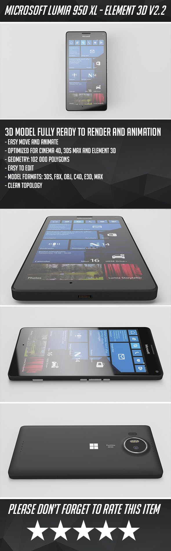 Microsoft Lumia 950 XL - Element 3D - 3DOcean Item for Sale