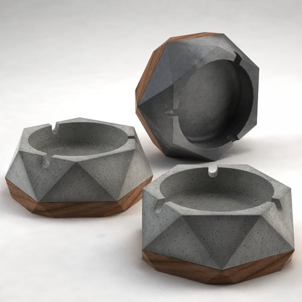 Ashley Ashtray (Concrete & Wood) - 3DOcean Item for Sale