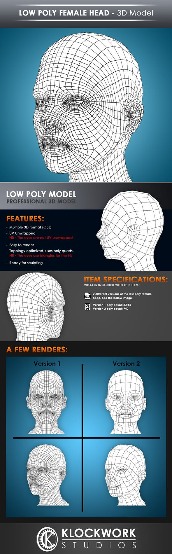 low poly female head base mesh - 3DOcean Item for Sale