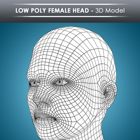 low poly female head base mesh