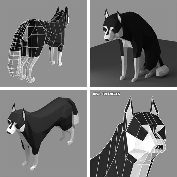 Low poly Siberian Husky (rigged)
