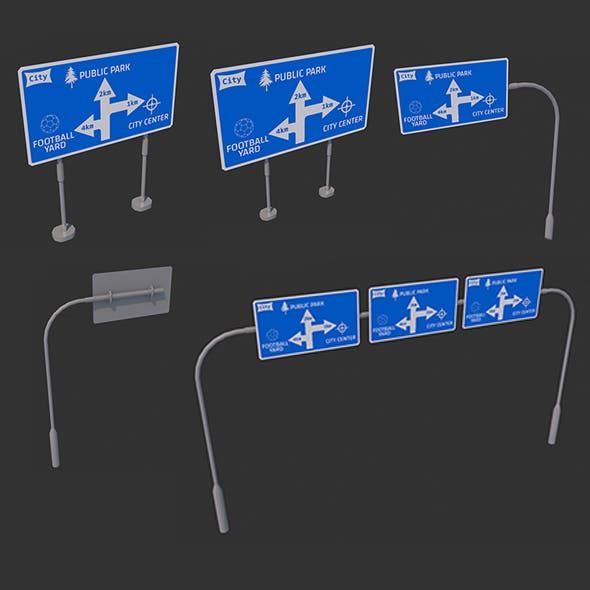 Roadside signpost 3D Models - game assets Complement