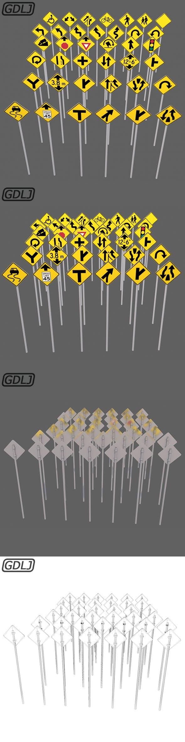 38 Road signs 3D Models game assets - 3DOcean Item for Sale