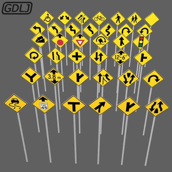 38 Road signs 3D Models game assets
