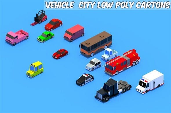 low poly Cars pack - 3DOcean Item for Sale
