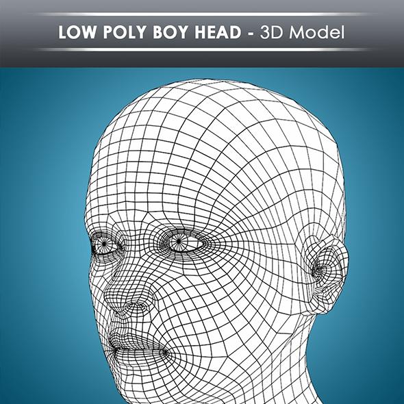low poly boy head base mesh