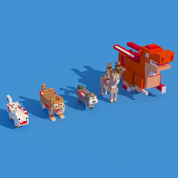 Low Poly Zombie Animals Crossy Road