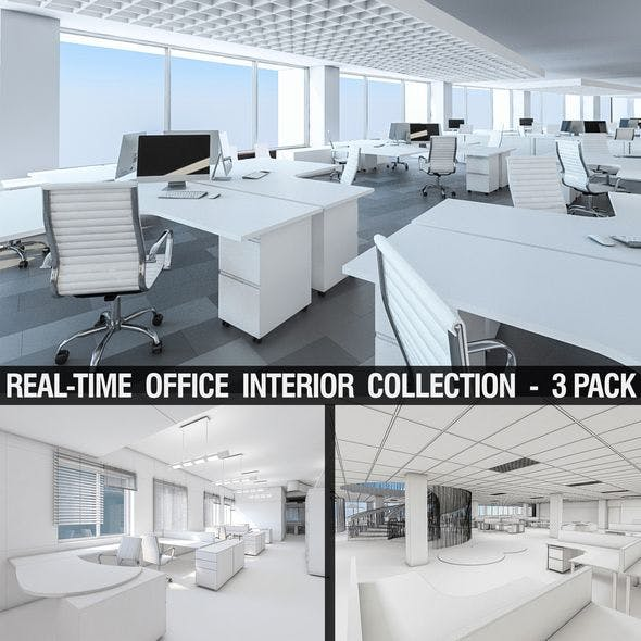 Office Interior Collection - 3 Pack - 3DOcean Item for Sale
