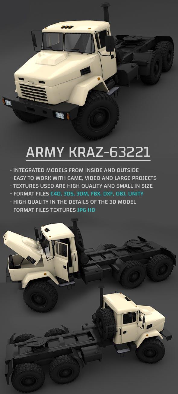 Army KRAZ-63221 3D Model - 3DOcean Item for Sale